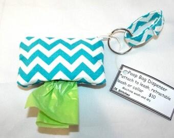 Poop Bag Dispenser for Leash or Collar, Turquoise Chevron