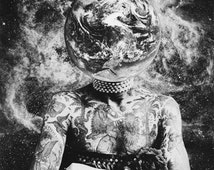 Surreal Space Print. Vintage Tattoo Lady of the Universe. 8x10 or 11x14 portrait print.