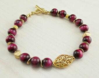 Fuchsia Gemstone Bracelet, Balinese Gold Vermeil, Magenta Pink Gemstone, Gold Beaded Gemstone Bracelet