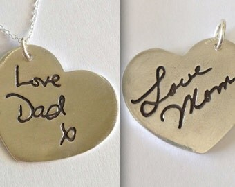 Double Sided Memorial Jewelry-Large SIze Heart Shaped  Made to Order