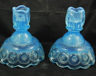 Vintage L. E. Smith Moon and Stars Pattern Blue Opalescent Vaseline Glass Candle Stick Holders Set of 2 L.G. Wright