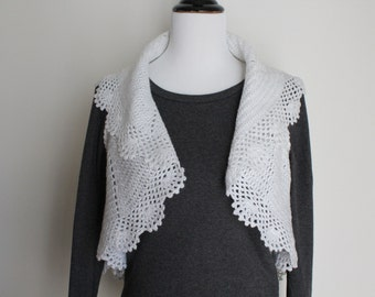 Crocheted White Silver Metallic Vest or Sweater
