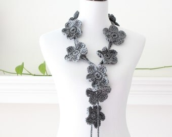Crocheted Gray Lariat, Necklace, Scarf, Scarflette