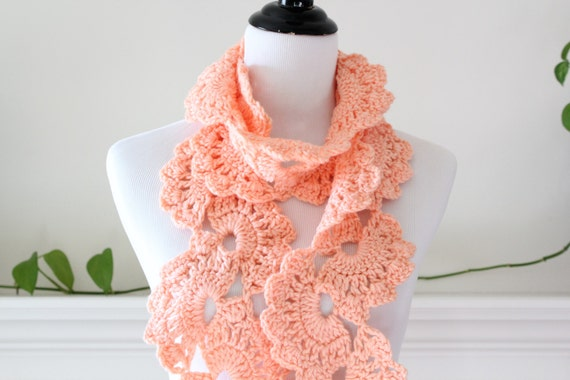 Crochet Long Peach Scarf,  Neckwarmer