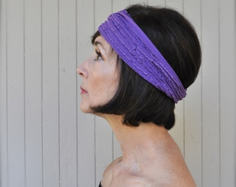 Boho ruffle headband in purple, zebra, berry, grey, mocha, black, baby pink, teal, ivory, yellow or grey blue stretch headband.