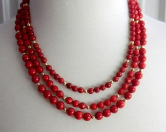 Cherry Red Multi Strand Necklace, Scarlett, Bamboo Coral, Layered Beaded Necklace, Luxe, Luxury necklace