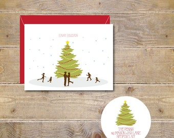 Ice Skating, Christmas Tree,  Christmas Cards, Holiday Cards, Rustic Christmas Cards, Christmas Card Sets, Holiday Greetings, Christmas Tree