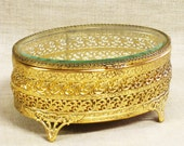 Ormolu , Jewelry Casket , Jewelry Box , Display Box , Metal Display Box , Glass Top Box , Jewelry Display , Gold Tone ,Ornate ,Box , Storage