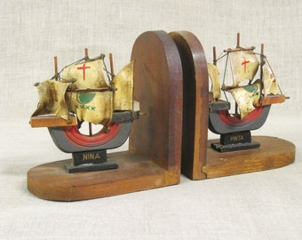 Vintage Ship Bookends, Wooden, Nautical, Handcrafted, Folk Art, Library, Organization, Book Holder, Men's Gift,Man Cave,Masculine,Old World