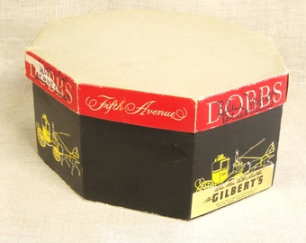 Dobbs Hat Box , Octagonal Hat Box , Hat Storage , Storage Box , Dobbs 5th Avenue , Paper Box , Storage , Head Wear , Hat Box , Black and Red