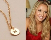 Gold Initial Disc Necklace, Tiny Gold disc, Hand Stamped Initial Disc Necklace, Tiny Initial Charm, Personalized Jewelry, Gold Initial Charm
