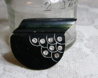 Vintage celluloid and rhinestone Art Deco brooch circa the 1930's