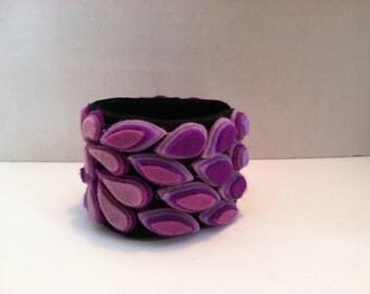 Ladies Jewelry boho mosaic wool felt cuff bracelet wearable art