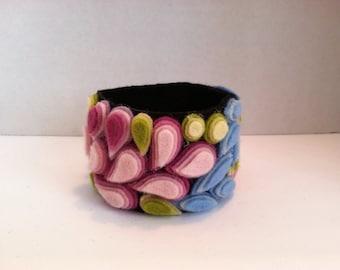 OOAK Ladies Jewelry boho mosaic wool felt cuff bracelet Cherry Blossoms wearable art