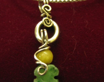 SPRING SCENERY  ...  Natural Jade . 925 sterling silver wire wrapped Pendant