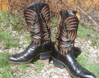 Vintage DAN POST 'Burning Ring of Fire' Black Leather Western Cowboy Boots - Man's Size 9 D