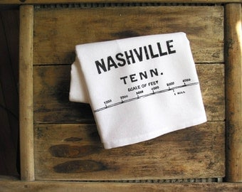 Nashville Kitchen Cotton Towel Bar Mop Rustic Southern Flour Sack Vintage Map Housewarming Wedding Favors Gift Him Father's Day Wholesale