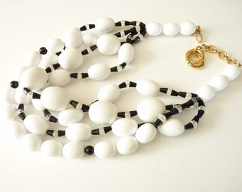 NEW  Vintage Monet Black and White Statement Necklace  Four Strands White Beads with Black and Clear Bead Spacers 16 Inches