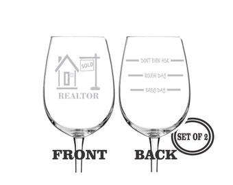 2 REALTOR ETCHED Wine Glasses Set of 2 Engraved Wine Glasses Gift for Realtor Funny Wine Glasses Gift Toasting Glasses Cocktail Glass