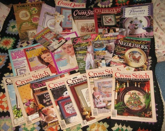 CROSS STITCH MAGAZINES, 20 Needlework Magazines 1988 to 1995 - Better Homes and Garden, Country Crafts Magazines with Patterns, Craft Mags