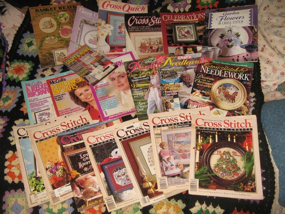 Items similar to cross stitch magazines 20 needlework for Country living magazine cross stitch
