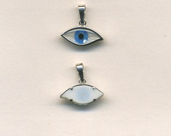 925 Sterling Silver Evil Eye Charm with synthetic stone.(MM-80)