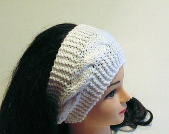 Hand Knit Head Band, Knitted Ear Warmer, Womans Knitted Headband, Cables Headband, White Ear Warmer