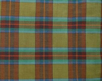 Vintage Fabric - Green Brown Blue Plaid - 5/6 yard