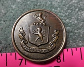 Vintage HUGE Brass Shield Coat of Arms Button- 1-3/8+ inch diameter -Collection - Jewelry - Steampunk - Collage