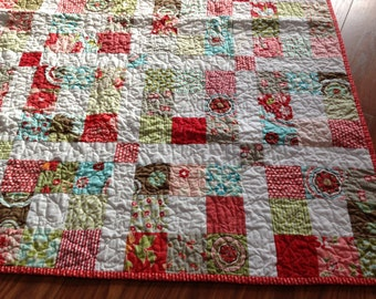 Crib Quilt Baby Girl Bliss Ruby Red Pink Aqua Patchwork