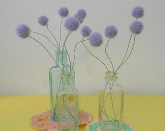 Purple Felt flowers - Lilac Lavender alpaca wool pom poms -  Faux craspedia flower bouquet - Felt billy ball floral arrangement - Fuzzy Ball