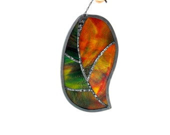 Autumn leaf suncatcher, stained glass suncatcher, orange red green, fall leaf, glass art, stained glass leaf, nature inspired