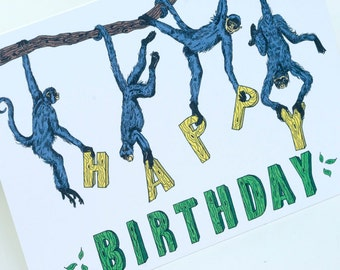 Happy  Birthday greeting card - Monkeys