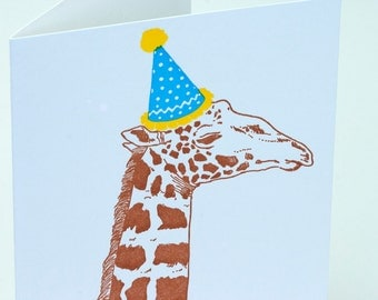 SALE - Happy Birthday Letterpress card - Birthday Giraffe - 60% off
