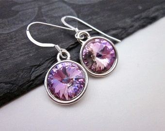 Vitrail Light Earrings -- Purple Crystal Earrings --  Lavender Dangles -- Light Purple & Silver Earrings -- Vitrail Light Swarovski Earrings