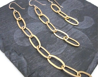 Gold Chain Earrings -- Long or Short Dangle Earrings -- Chain Dangle Earrings -- Choose from 3 Lengths