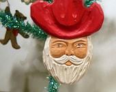 Hand Carved Santa Cowboy Ornament Wood Art Handmade Sculpture Christmas Birthday Anniversary Original Design