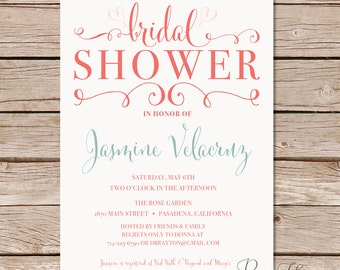 Calligraphy Bridal Shower Invitation / modern bridal shower invitation / Printable digital file and printed cards