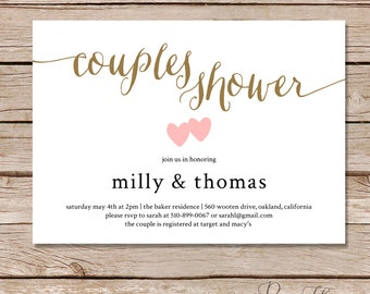 Couples Shower invitation / Couples wedding shower Invite / DIY Printable digital file / printable invitations / printed invitations