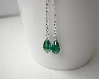 Silver chain earrings long dangle earrings emerald green bead earrings minimalist long earrings for women