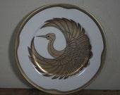 vintage fitz and floyd golden tsuru plate