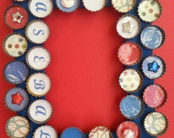 Baseball Bottle Cap Picture Frame Red White and Blue