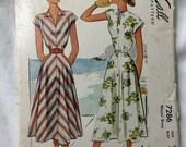 McCalls 7286 1940s Kimono Sleeve Summer Dress Vintage Sewing Pattern Bust 32