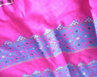 Vintage Hot Pink and Blue Silk Vintage Sari or Saree Fabric Yardage