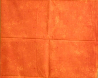 Orange Batik Tie Dye Cotton Fabric Yardage