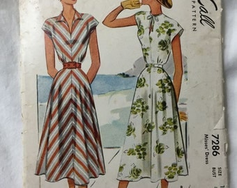 McCalls 7286 1940s Kimono Sleeve Summer Dress Vintage Sewing Pattern Bust 32