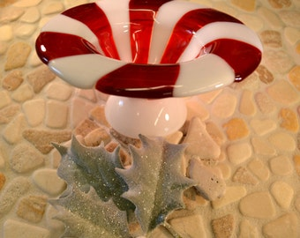 Peppermint Twist Candy - Bowl - Compote - Fused Glass - Ice Cream Bowl - Candy Dish - Christmas Bowl