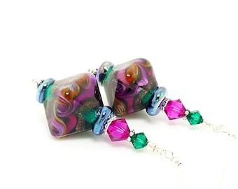 Colorful Earrings, Crystal Shaped Earrings, Lampwork Earrings, Glass Earrings, Glass Bead Earrings, Beadwork Earrings, Unique Earrings