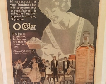 O-Cedar print ad circa 1917. 7 1/2 x 11.