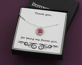 Thank You For Being My Flower Girl Personalized Necklace - Thanks For Being Custom Gift Box - Necklace Card - WIll You Be -Quote